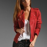 Joie Lexandra Leather Motorcycle Jacket in Faded Scarlet