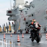 Max Biaggi Tests Pirelli Angel GT Tires on Italian Aircraft Carrier_1