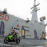Max Biaggi Tests Pirelli Angel GT Tires on Italian Aircraft Carrier_3