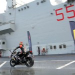 Max Biaggi Tests Pirelli Angel GT Tires on Italian Aircraft Carrier_4