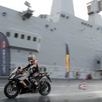 Max Biaggi Tests Pirelli Angel GT Tires on Italian Aircraft Carrier_5
