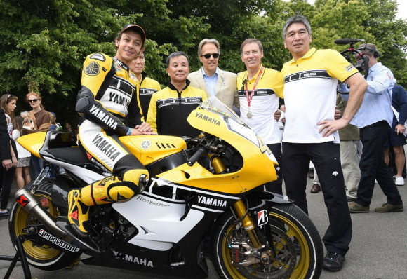 Rossi Attends the 2015 Goodwood Festival of Speed with Yellow-Black Yamaha YZR M1